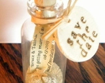 Mini Message Bottle Save the Date Magnets sold in lots of 12 or more