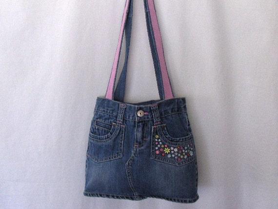 Women Teen Girls Denim Skirt Handbag: Upcycled Refashioned Denim Skirt Embroidered,