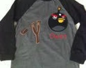 Made to look like Angry Birds Shirt w/ name
