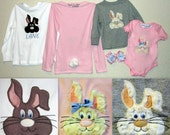 Custom Easter Bunny Shirt Boy/Girl with Name Personalization INCLUDED & matching bow