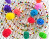 Pompom Mobile Decoration Colored Glass Beads - Kids Room,Nursery, Summer Gift, Sale
