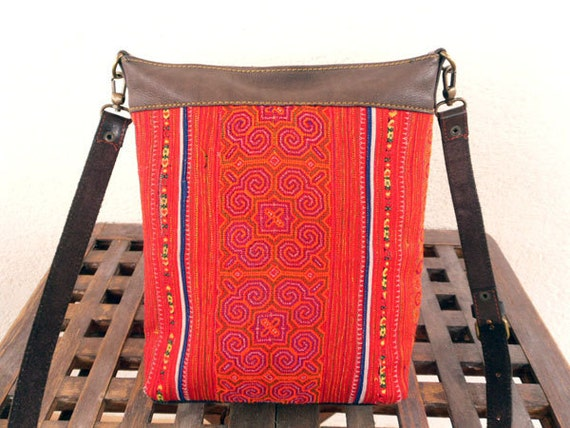 Hmong Vintage Cross Body Bag, Messenger Bag - Embroidered Ethnic Fabric, Leather Detail, Long Leather Strap