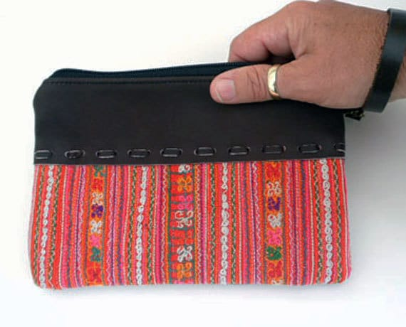 50% OFF HMONG Zipper Pouch Vintage Embroidered Textile, Leather Trim ,Removable Leather Strap