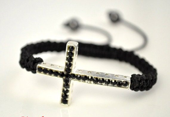 Pave Black Onyx Beaded Cross Bracelet Handmade Weaved Hemp Sideways Cross