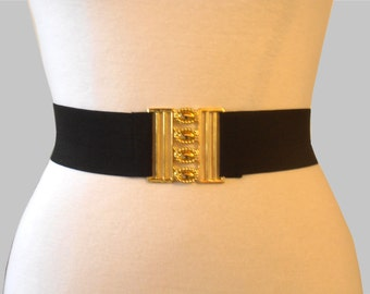 Elastic Black Belt with Golden Closure Piece
