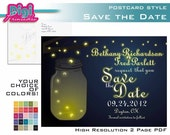 Printable Mason Jar Lightning Bugs Firefly At Dusk Save The Date