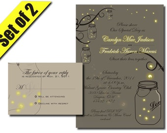 Printable Mason Jar Fireflies Wedding Invitation RSVP