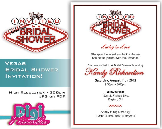 Las Vegas Wedding Invitation Wording: Bridal Shower Invitation Las Vegas Digital Download DIY