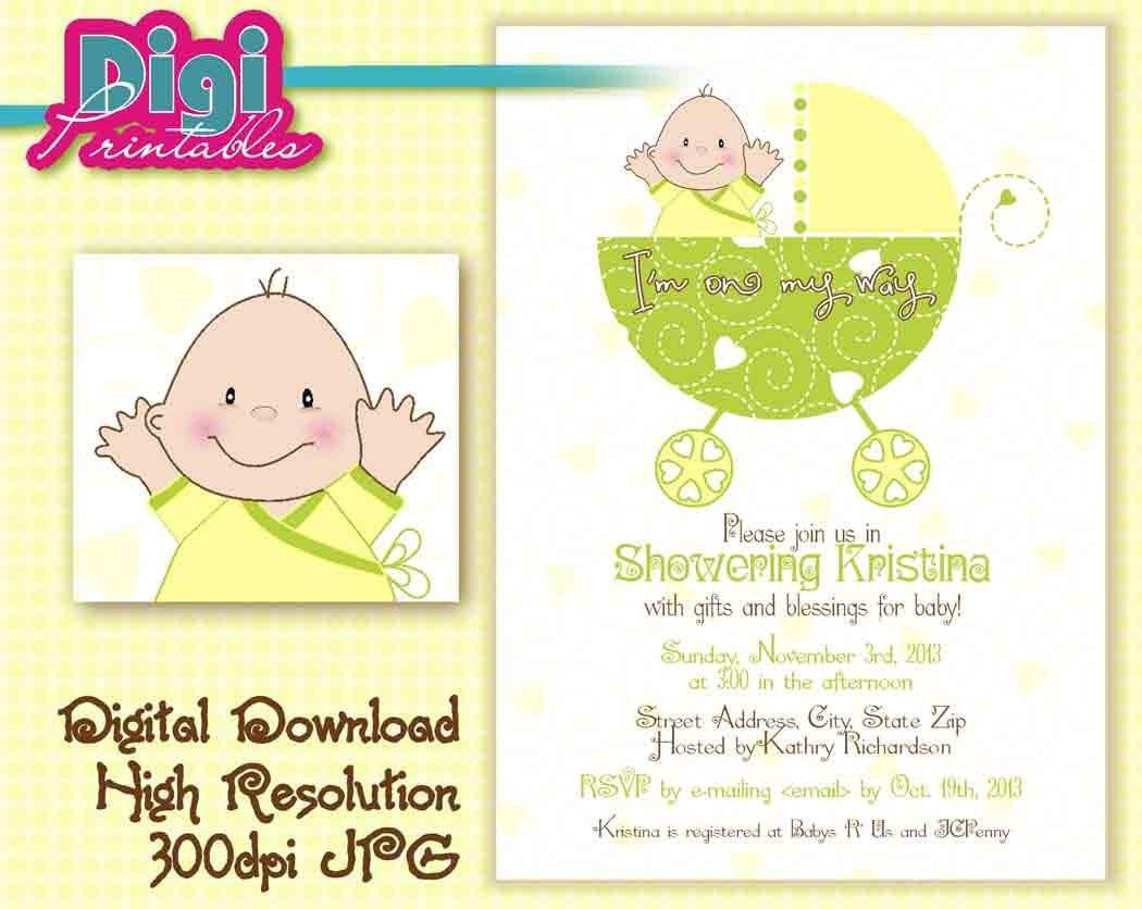 Baby Shower Invitation Gender Unknown Digital Download DIY – Baby Gender Announcement Wording