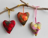 Heart ornament pincushion decor colorful red patchwork quilt set of 3