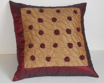 Decorative pillow cover with handmade burgundy roses beige taffeta cushion quilt 20x20