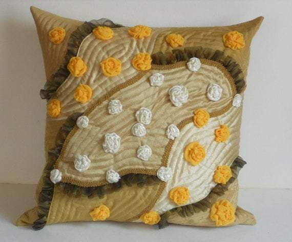 Decorative pillow case with handmade roses yellow, beige, mustard for living room.