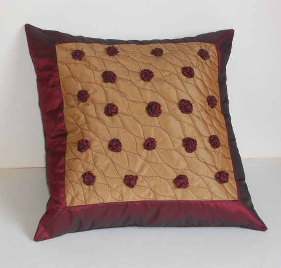 Decorative Pillows Homemade : Decorative pillow cover with handmade burgundy roses beige