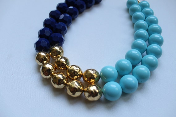 The Chelsea - color block navy, pastel blue and gold statement necklace