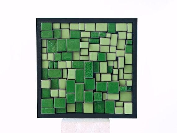 Mosaic x22. Four/01. Green ceramic mural