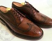 Vintage Men's Nunn Bush Chestnut Brown Pebble Grain Leather Longwing Brogues Gunboats V Cleat Dress Shoes -- 8.5 C
