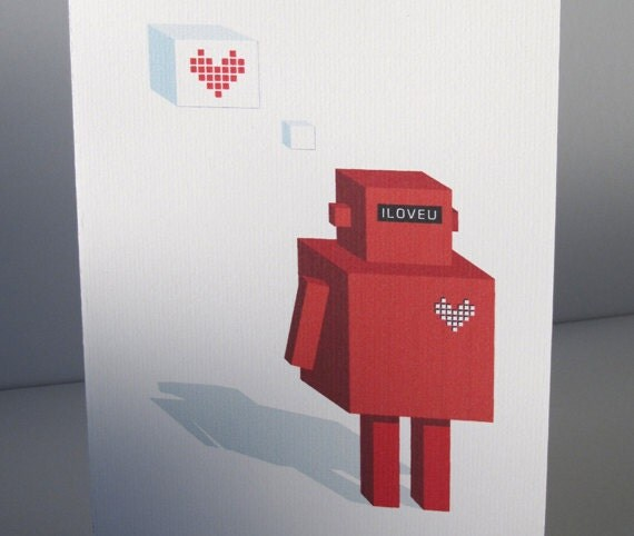 Printable Robot Valentines Card