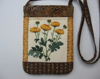 small hand embroidered crossbody bag or shoulder purse sling bag hipster small travel bag