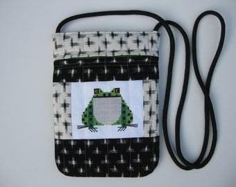green small hand embroidered frog crossbody bag or shoulder purse handmade sling bag hipster small travel bag