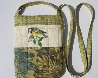 small hand embroidered crossbody bag or shoulder purse handmade sling bag hipster small travel bag