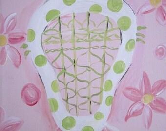 Hand Painted Girls Lacrosse Art