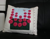 Pink hollyhocks and dragonfly cushion cover
