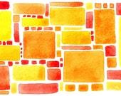 Lemon Meringue Pie - abstract watercolour print, warm yellows, lemon zest, golds, oranges, reds, squares, rectangles, warm tones