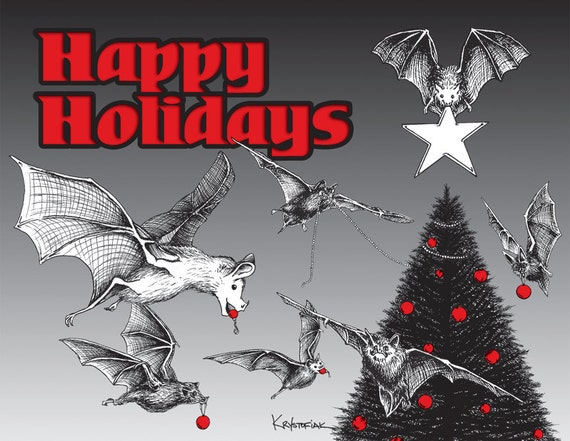 Christmas Cards, Bats, 25 ct.