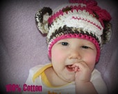 Infant sock monkey beanie for girl or can be made for boy 100% cotton