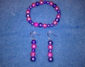 Pink and Purple Bracelet and earrings