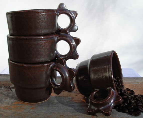 stackable cups in iron rich glaze