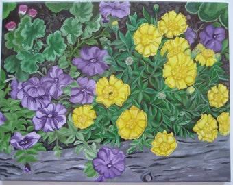 ORIGINAL Oil Painting-Summer Pansies and Marigolds Art by Trupti