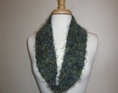 Green and Blue Infinity Scarf with metallic touches