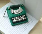 Green Felt Brooch - Typewriter Brooch