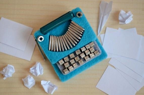 Blue Typewriter Brooch ,felt brooch