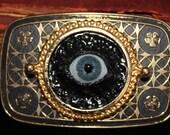 western style belt buckle set with medium blue glass eye
