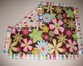 Pink and brown large tag blanket - pink brown cream hearts / pink flowers - READY TO SHIP