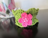 Bracelet/Cuff. Beautiful Crochet cuff in green with Pink FLower.
