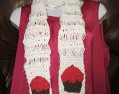CUPCAKE SCARF. Crochet cotton lightweight scarf.