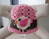 Hat for Little Girl. Cute bird hat gift for young child.