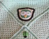 Owl Baby Blanket in Green.