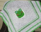 Frog Baby Blanket. CLEARANCE. ON SALE.