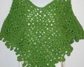Modern Chic Poncho. Crochet Green Poncho / Shawl for Women. Cute Autumn Coverup.