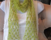SEXY Love Knot  SCARF  in Chartreuse. Crochet scarf. Beautiful gift for girlfriend, special lady.