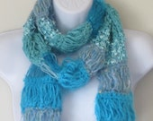 Blue/Aqua Fiber Scarf with Fringe. Beautiful scarf in several textured yarns. Unique Scarf.