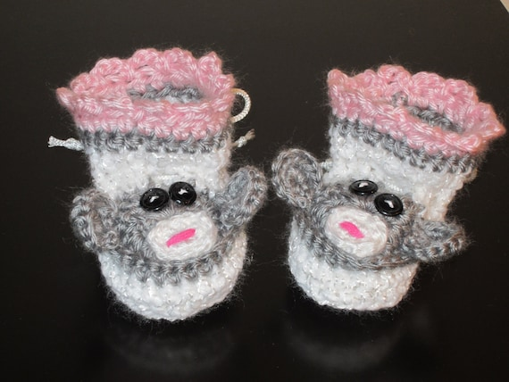 MONKEY BABY BOOTIES in Pink, grey and white. Cute Baby Gift.