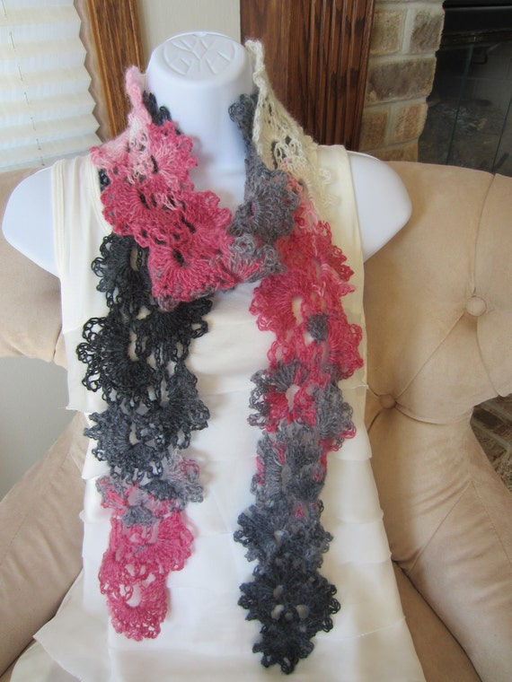 Queen Anne Lace Scarf. All Season angora blend crochet scarf in pink and grey.