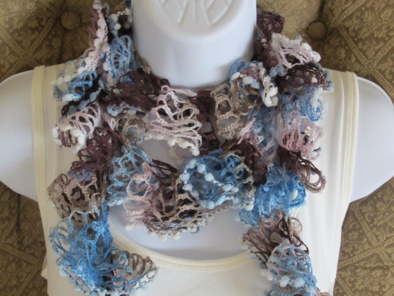 SALE. Summer Scarf. Ruffle Scarf in blue, brown, cream. Summer flamenco style scarf. Made to order item.