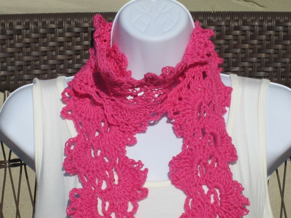 Summer Scarf in Pink.  Queen Anne Scarf in all cotton.