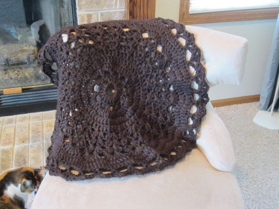 Cozy  Round Brown Blanket for baby, home, teen. Doily style blanket or rug. Soft and Cozy.